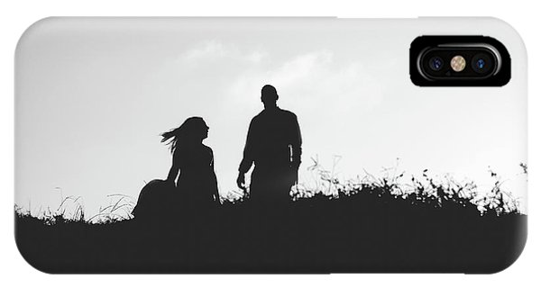 Silhouette Of Couple In Love With Wedding Couple On Top Of A Hill IPhone Case