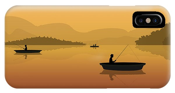 Peace iPhone Case - Silhouette Of Fishermen In A Boat With by S veresk