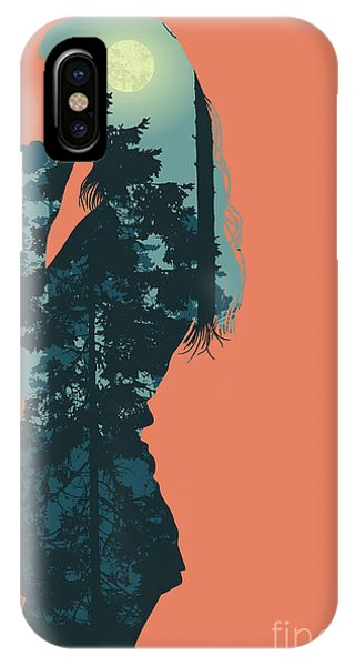 Shadow iPhone Case - Silhouette Of Girl And Night Forest by Jumpingsack