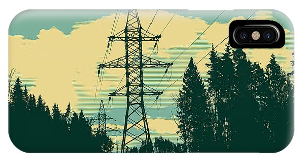 Cutting iPhone Case - Silhouette Of High-voltage Tower by Jumpingsack