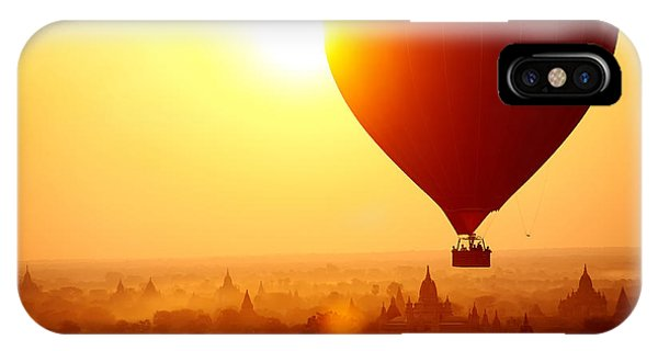 Old Building iPhone Case - Silhouette Of Hot Air Balloon Over by Daxiao Productions