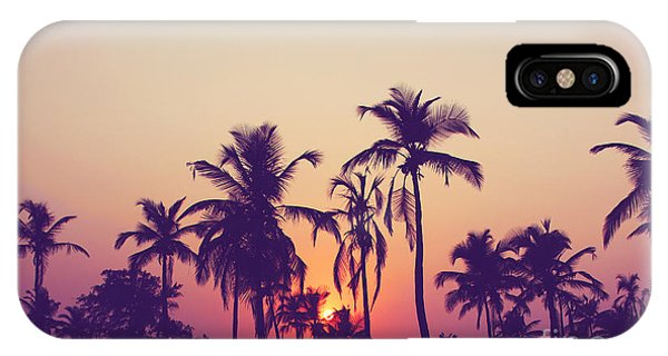 Beautiful Sunrise iPhone Case - Silhouette Of Palm Trees At Sunset by Grop