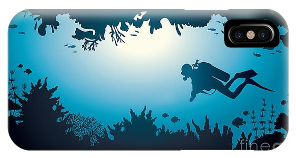 Sea Life iPhone Case - Silhouette Of Scuba Diver And Coral by Natali Snailcat