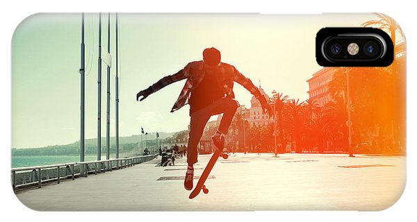 Heat iPhone Case - Silhouette Of Skateboarder Jumping In by Maxim Blinkov