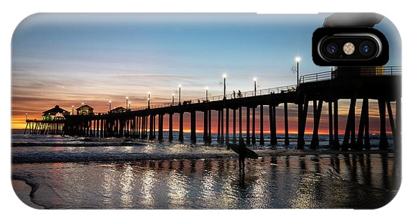 iPhone Case - Silhouette Of Surfer At Huntington by Panoramic Images