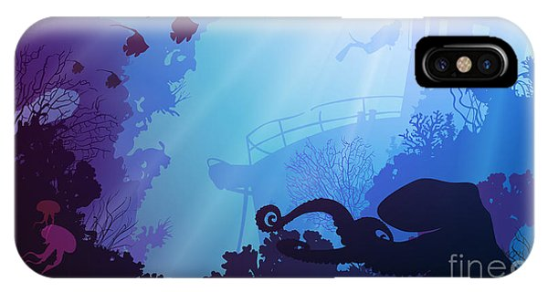 Silhouette Of Underwater Marine Life Phone Case by Eva mask