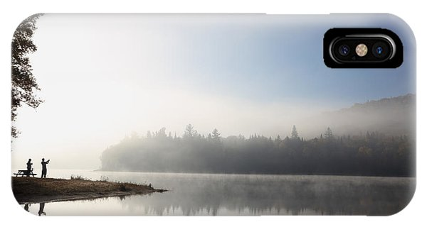 Zen iPhone Case - Silhouette. Relaxing Morning On Lake by Barisev Roman