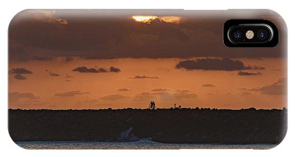 Silhouettes, Breakwall And Sunrise Seascape IPhone Case