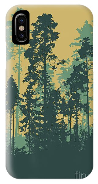 Shadow iPhone Case - Silhouettes Of Coniferous Forest by Jumpingsack