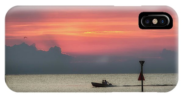 Silhouette's Sailing Into Sunset IPhone Case