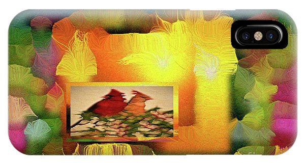 IPhone Case featuring the digital art Silk-featherbrush Number 2 - Two Redbirds Of A Feather Cozy Together  by Aberjhani