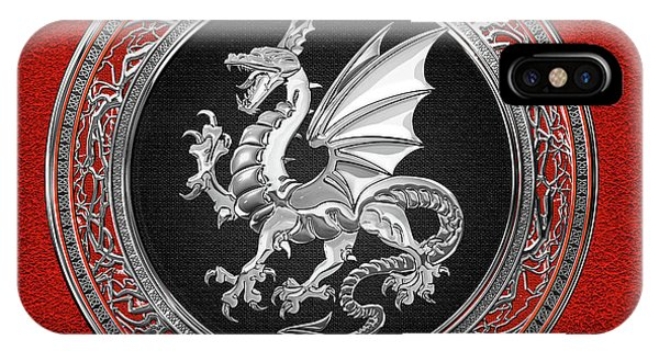 Silver Winged Norse Dragon - Icelandic Viking Landvaettir On Black And Silver Medallion Over Red  IPhone Case
