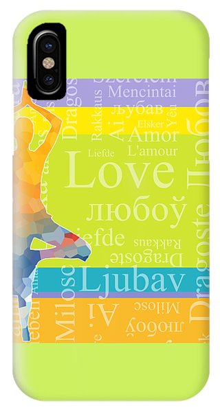 Simple iPhone Case - Simple Silhouette Of Woman Doing Yoga With Word Love In Different Languages by Elena Sysoeva