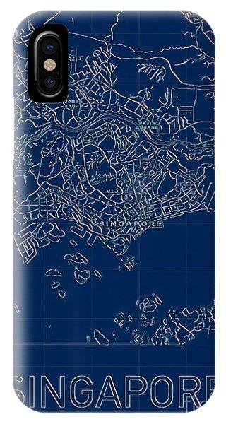Singapore Blueprint City Map IPhone Case