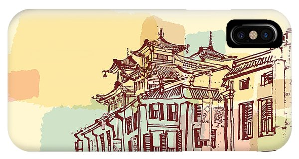 Worship iPhone Case - Singapore China Town Drawing. Vintage by Babayuka