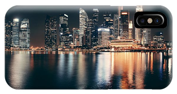 Metropolis iPhone Case - Singapore Skyline At Night With Urban by Songquan Deng