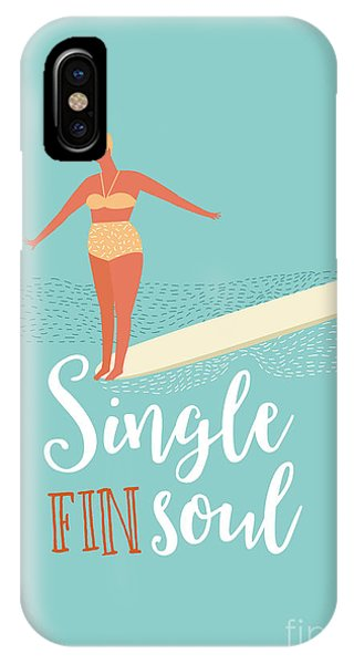 Surfboard iPhone Case - Single Fin Longboard Surfing by Nicetoseeya