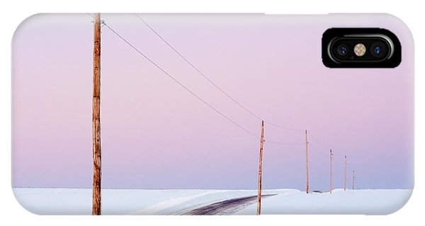 Snowy Road iPhone Case - Single Phase Electrical Power Lines by Todd Klassy