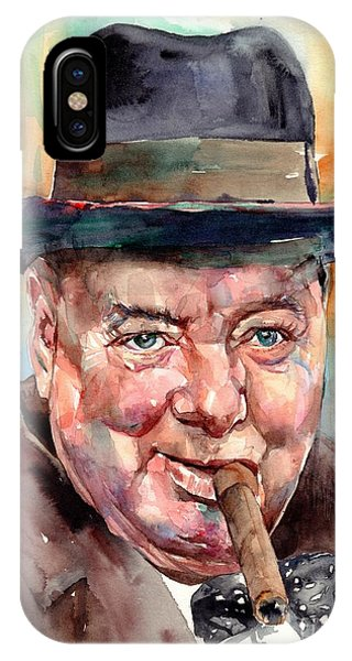 Prime Minister iPhone Case - Sir Winston Churchill In His Hat by Suzann Sines