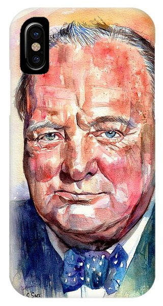 Prime Minister iPhone Case - Sir Winston Churchill Portrait by Suzann Sines