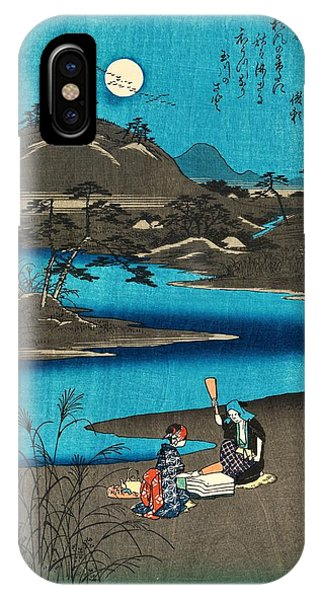 Super Moon iPhone Case - Six Tama Rivers In Various Provinces - Settsu Province by Utagawa Hiroshige