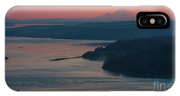 Whidbey iPhone Case - Skagit Bay And Mount Rainier Sunset by Mike Reid