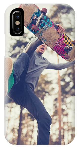Young iPhone Case - Skater Guy Jumps by Aleshyn andrei