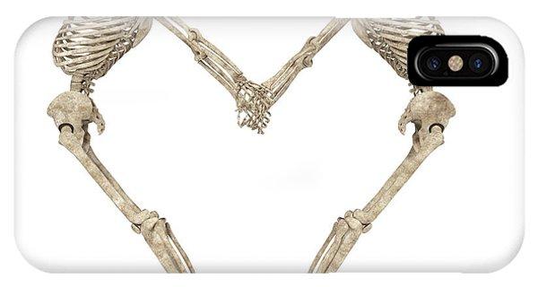 Human Interest iPhone Case - Skeleton Yoga 001 by Betsy Knapp