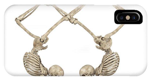 Human Interest iPhone Case - Skeleton Yoga 002 by Betsy Knapp