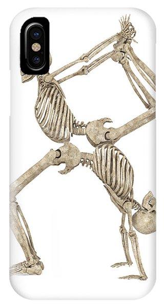 Human Interest iPhone Case - Skeleton Yoga 003 by Betsy Knapp