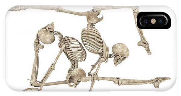 Human Interest iPhone Case - Skeleton Yoga 004 by Betsy Knapp