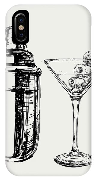 Vector Graphics iPhone Case - Sketch Martini Cocktails With Olives by Mazura1989