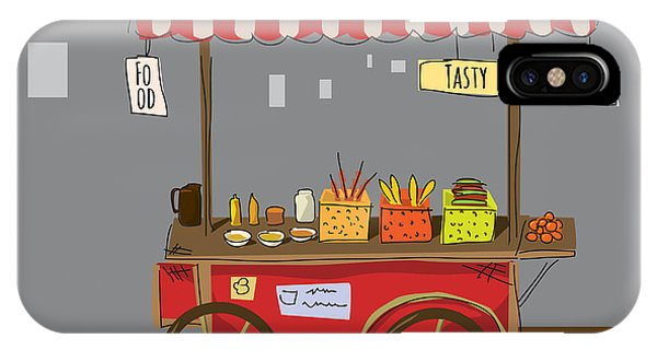 Sketch Of Street Food Carts, Cartoon Phone Case by Valeri Hadeev