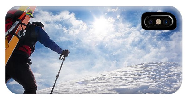 Strength iPhone Case - Ski Mountaineer Walking Up Along A by Roberto Caucino