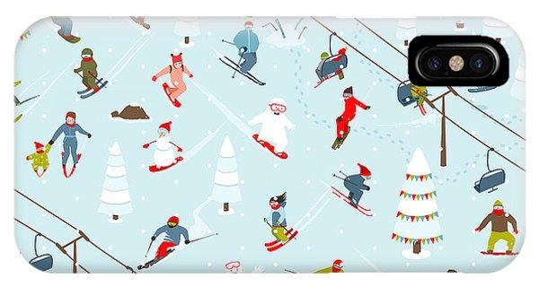 Winter Fun iPhone Case - Ski Resort Seamless Pattern With by Popmarleo