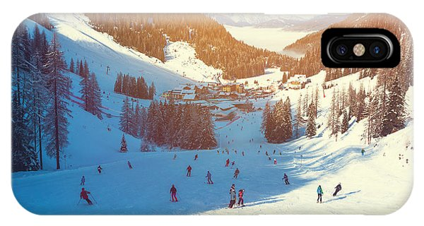 White Mountains iPhone Case - Skiing Area In West Alps In The Morning by Lkoimages