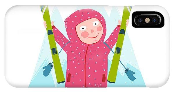 Winter Fun iPhone Case - Skiing Sport Child Girl In Winter by Popmarleo