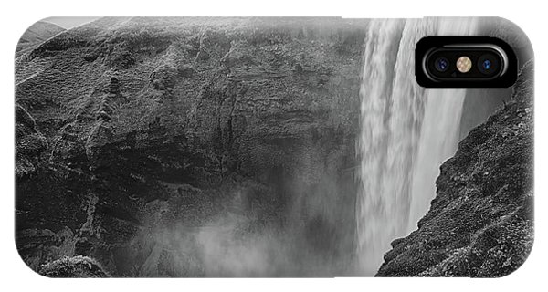 IPhone Case featuring the photograph Skogafoss Iceland Black And White by Nathan Bush