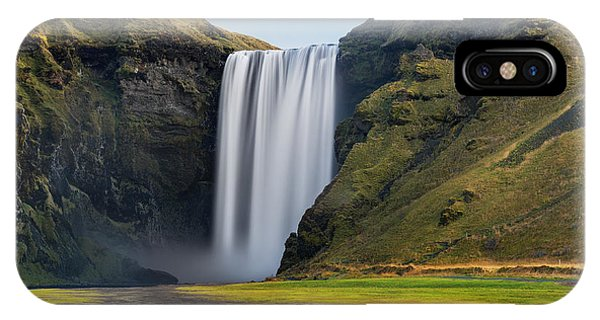White Mountains iPhone Case - Skogafoss Waterfall. Iceland. Long by Jan Miko