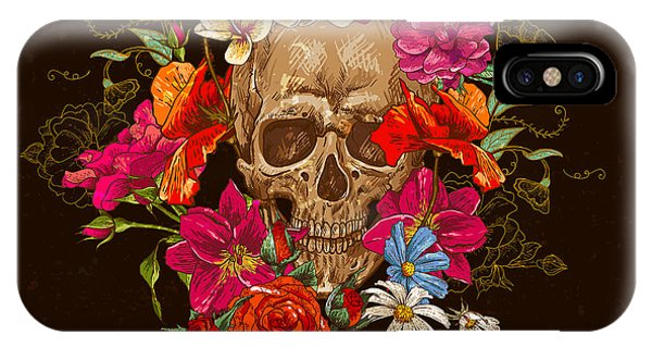 Red Rock iPhone X Case - Skull And Flowers Day Of The Dead by Depiano