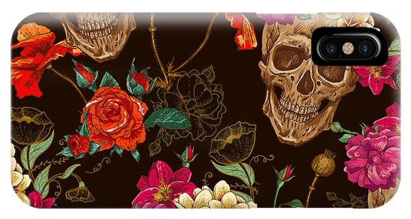 Red Rock iPhone X Case - Skull And Flowers Seamless Background by Depiano
