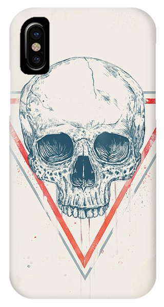 Triangles iPhone Case - Skull In Triangles by Balazs Solti