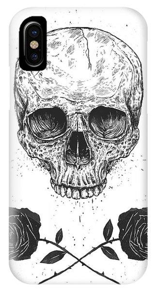 Skull iPhone Case - Skull N' Roses by Balazs Solti