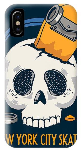 Danger iPhone Case - Skull, Skateboard, Vector Design Work by Braingraph