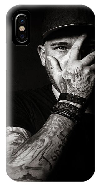 Armed iPhone Case - Skull Tattoo On Hand Covering Face by Johan Swanepoel