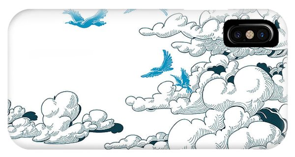 Cloudscape iPhone Case - Sky Background, Clouds And Blue Birds by Danussa
