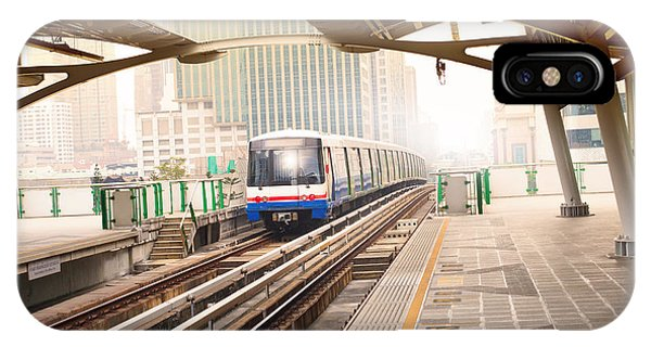 Train Tracks iPhone Case - Sky Trains In Bangkok City Important by Stockphoto Mania