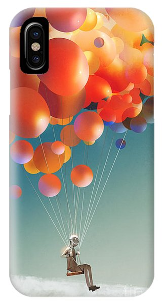 Celebration iPhone Case - Sky Traveller,man Floating With by Tithi Luadthong