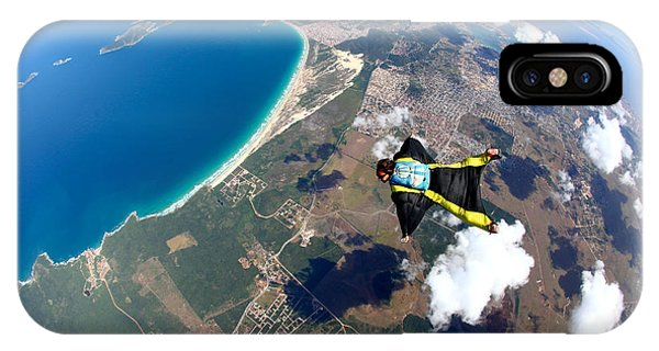 South America iPhone Case - Skydive Wing Suit Over Brazilian Beach by Rick Neves