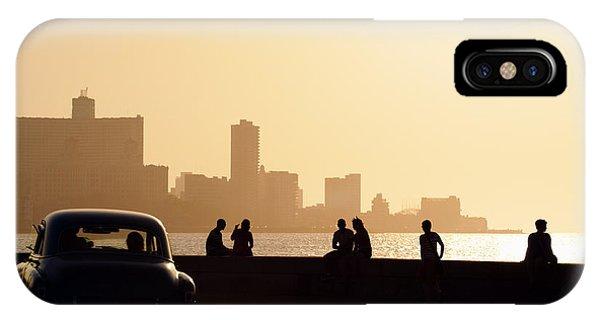 Travel Destination iPhone Case - Skyline In La Habana, Cuba, At Sunset by Diego Cervo